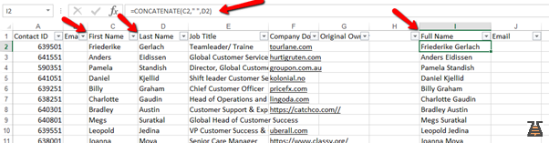 Excel sheet with names for B2B prospects database