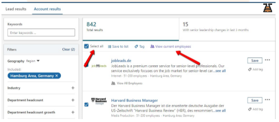 LinkedIn Sales Navigator searching process