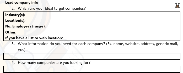BizzBee Questionaire for B2B prospects database