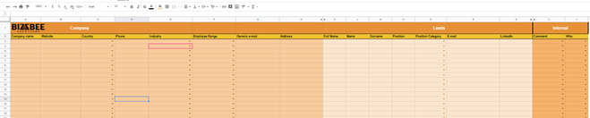BizzBee Google Spreadsheet for B2B Prospect Database