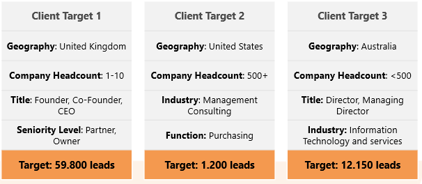 3 Client target audience examples