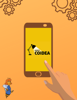 Cover for Coidea's case study, a smartphone with a finger pointed towards the logo.