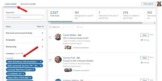 LinkedIn Sales Navigator searching process