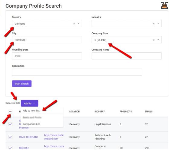 Snovio search filters