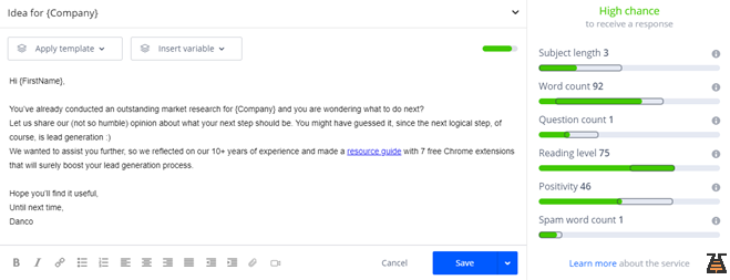 Writing the copy for b2b email outreach in the automation tool