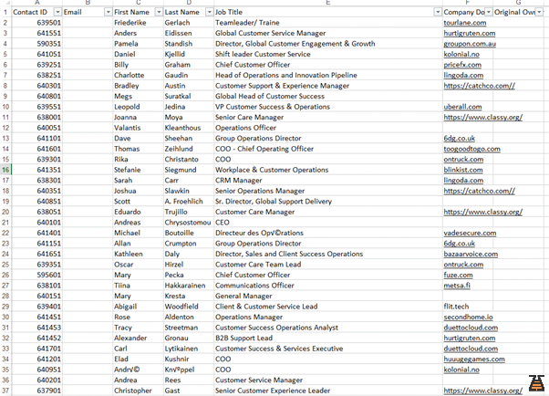 Printscreen of an incomplete B2B prospects database