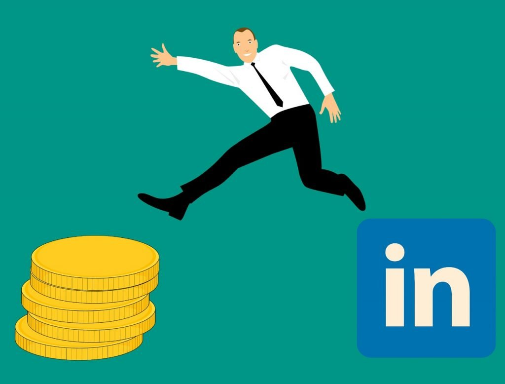 Man jumping from LinkedIn sign towards money - Outbound SME Growth