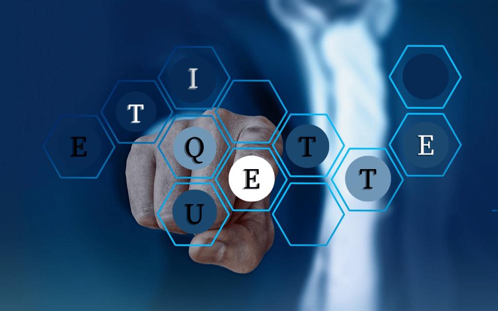 Etiquette letters in hexagon elements