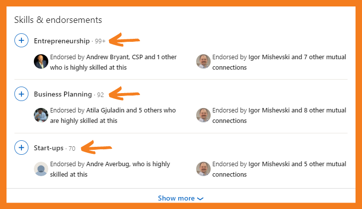 Skills and endorsements on optimised LinkedIn profile