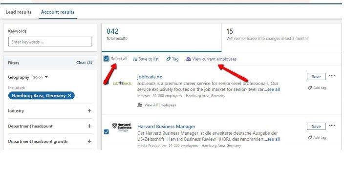 LinkedIn Sales Navigator filters