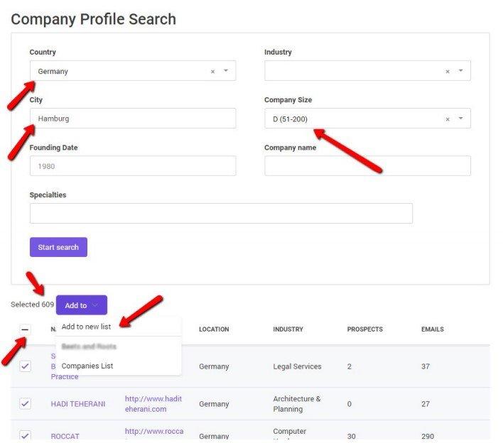 Company profile search on scrapers - Snovio